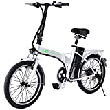 Goplus 20' 250W Folding Electric Bike Sport Mountain Bicycle 36V Lithium Battery (White)