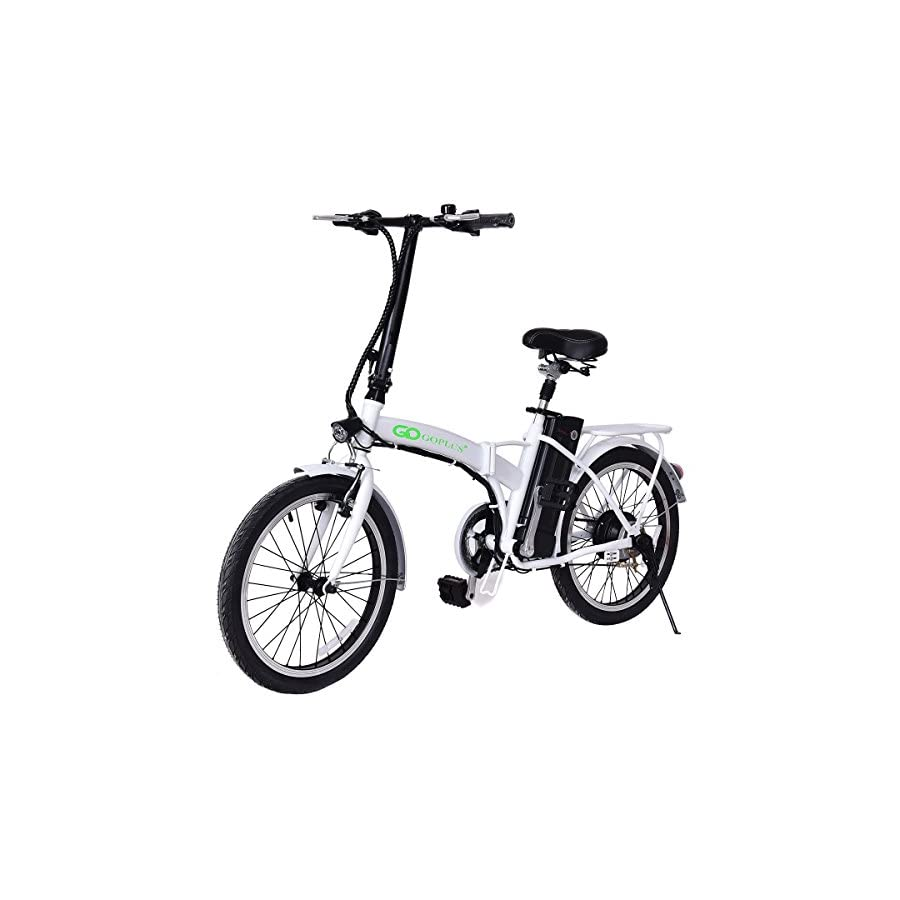 "Goplus Folding Electric Bike 20"" 250W Sport Mountain Bicycle 6 Speed Gear 36V Lithium Battery (White)"