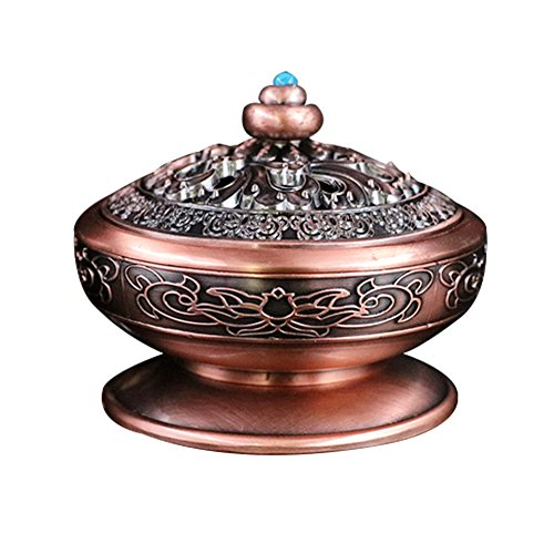 Sokey Red Bronze Traditional Brass Charcoal Screen Incense Burner with Brass Incense Holder