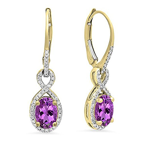 Dazzlingrock Collection 18K Oval Amethyst & Round White Diamond Ladies Infinity Dangling Earrings, Yellow Gold