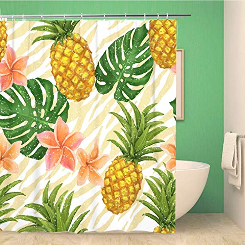 Awowee Bathroom Shower Curtain Orange Fruit Pineapple and Tropic Flowers in Colorful Tropical 72x72 inches Waterproof Bath Curtain Set with Hooks