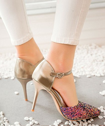 Stiletto Sequins High Shoes Heel Womens Buckled With Aisun Sparkly Dressy Strap Ankle Pumps Gold DOrsay EXHaTSx