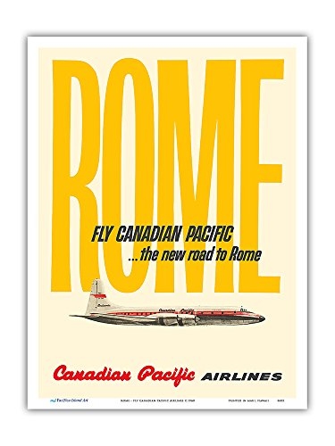 Rome - Fly Canadian Pacific Airlines - Vintage Airline Travel Poster c.1960 - Master Art Print - 9in x 12in