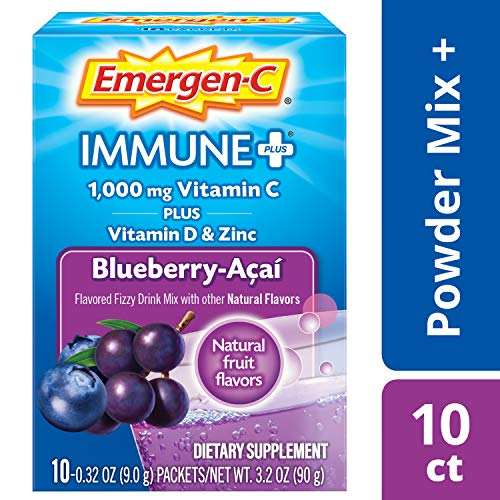 Emergen-C Immune+ (10 Count, Blueberry-Acai Flavor) System Support Dietary Supplement Fizzy Drink Mix With Vitamin D, 1000mg Vitamin C plus Antioxidants & Electrolytes, 0.32 Ounce Powder Packets ()