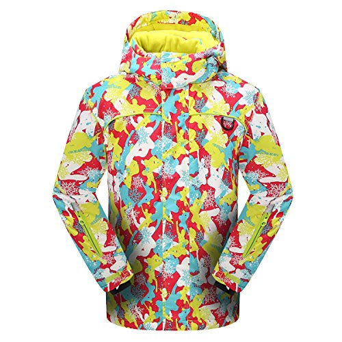 PHIBEE Girls' Sportswear Waterproof Windproof Snowboard Ski Jacket Yellow ()