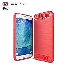 Galaxy J7 2017 Case,Dekaro Rugged Armor Hybrid Herringbone with Flexible Inner Protection Flexible TPU Carbon Fiber Design for Samsung Galaxy J7 2017 Red case