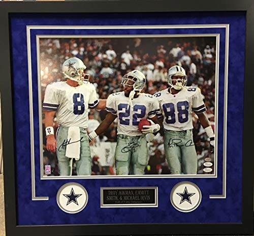 897f3ef6340 Emmitt Smith Troy Aikman Michael Irvin Dallas Cowboys TRIPLE Signed  Autograph Custom Framed Photo 16x20 Front Suede Matting to 26x28 Photograph  Triple ...