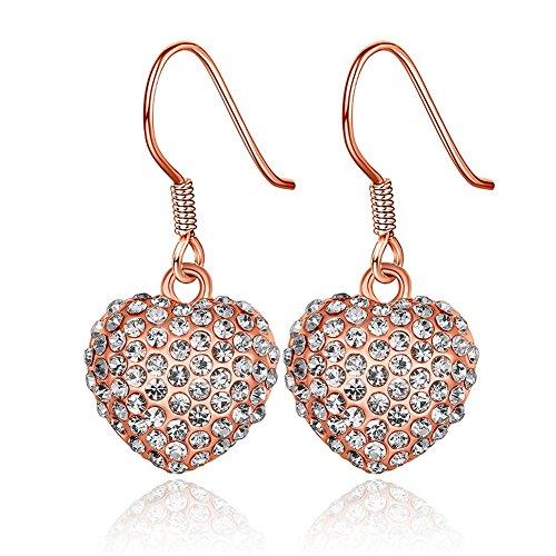 Fashion 3D Vintage Heart Crystal Dangle Earring Elegant Women Stud Earrings for Gift-Alan M.Arevalo