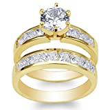 JamesJenny Ladies Set 10K Yellow Gold 1.1ct Round CZ Wedding Channel Ring Size 4.5