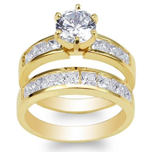 JamesJenny Ladies Set 10K Yellow Gold 1.1ct Round CZ Wedding Channel Ring Size 4.5 by JamesJenny