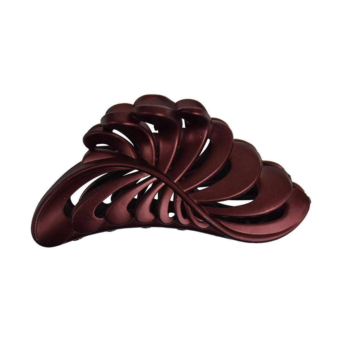 Pearlized Leaf design Women's Hair Accessory/5'' Large Jaw Clip Jumbo Hair Claw w (PEARLIZED BROWN)