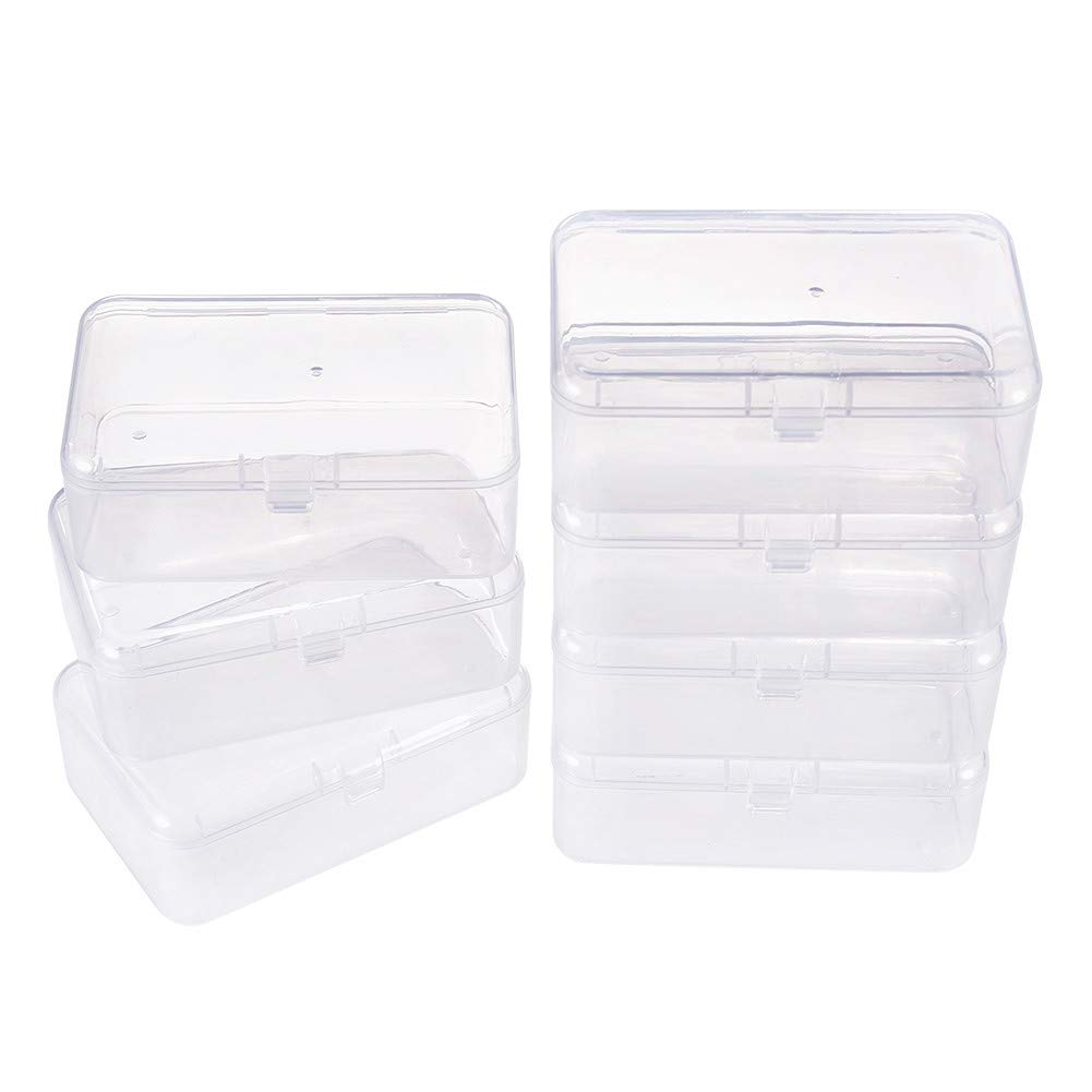 BENECREAT 12 Pack 3.5x2.4 Inches Rectangle Mini Clear Plastic Bead Storage Containers Box Case with Lid for Beads Earplugs Pins and Other Small Accessories by BENECREAT