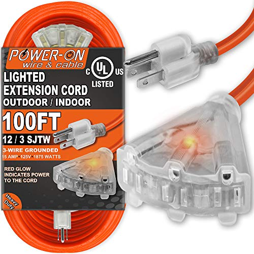 Kasonic 100 Feet 3 Outlet 12/3 SJTW Outdoor Extension Cord - UL Listed; 15Amp 125V 1875 Watts; Heavy Duty; Red Glow Indicates; Power-On Series (Orange) -