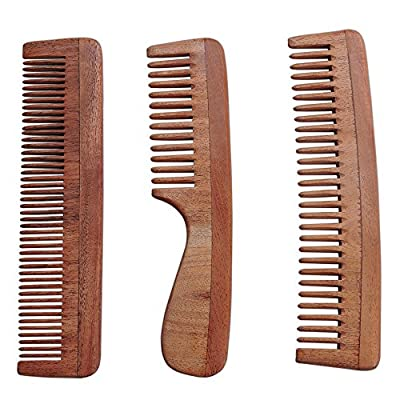 Set of 3 Pure Neem Wood Combs for Strong and Shiny Hair | Wide Tooth Neem Comb | Fine Tooth Neem Comb | Wide Tooth Neem Comb with Handle For Hair and Scalp Health | Ultra Saver Pack