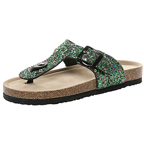 Colmkley Women Casual T-Button Double Buckle Sequined Sandals Slipper Flip ()