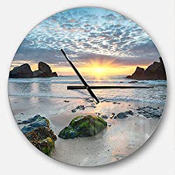 Designart Beautiful Porthcothan Bay' Oversized Coastal Metal Clock, Circle Wall Decoration Art, 23x23 Inches, Blue