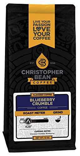 Christopher Bean Coffee Flavored Decaffeinated Ground Coffee, Blueberry Crumble, 12 Ounce Blueberry Streusel Coffee Cake