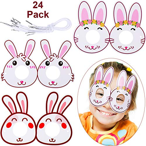 Yaomiao 24 Pieces Easter Bunny Eyeglasses Easter Costume Glasses Cardboard Bunny Eyewear Easter's Day Party Favors for Kids (Pink) ()