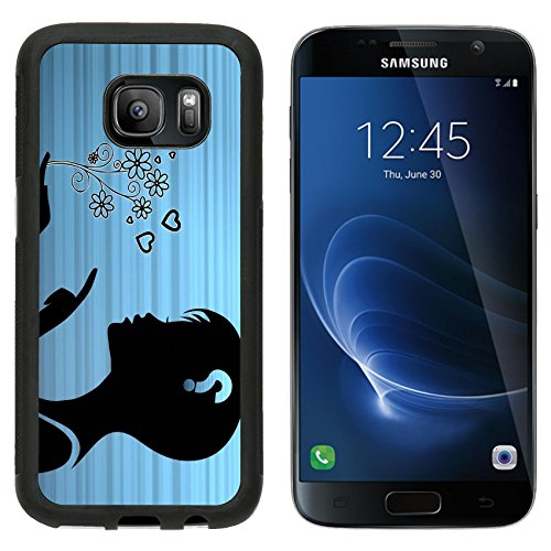 MSD Premium Samsung Galaxy S7 Aluminum Backplate Bumper Snap Case silhouette of a female woman presenting flowers on stylish blue background Image ID 25003882