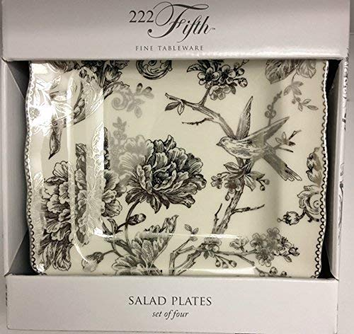 222 Fifth Adelaide SILVER Electroplate Square Salad / Luncheon Plates Set of Four (Platinum Square Luncheon Plate)