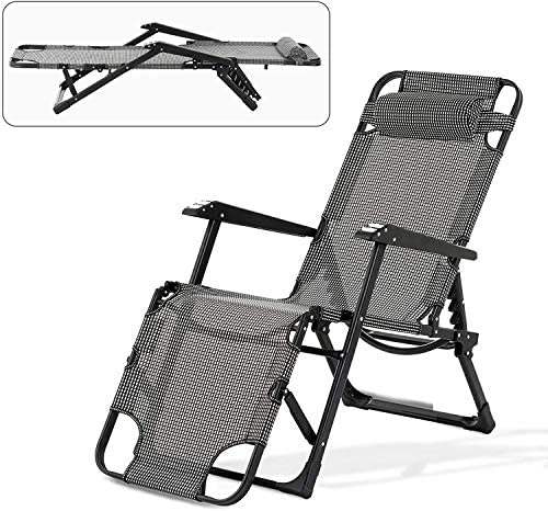 Mecor Lounge Chairs for Outside, Beach Chairs Folding Lightweight, Chaise Lounge Adjustable Recliner Lawn Garden Pool Patio with Pillow