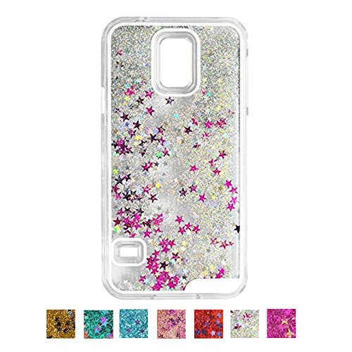 DStores Silver Galaxy S5 Case, Dynamic Water Liquid Floating Star Glitter Quicksand Clear Hard Glitter Sparkle Hybrid Bumper Bezels Protective Cover for Samsung Galaxy S5 i9600 (Silver Stars Phone Cover)