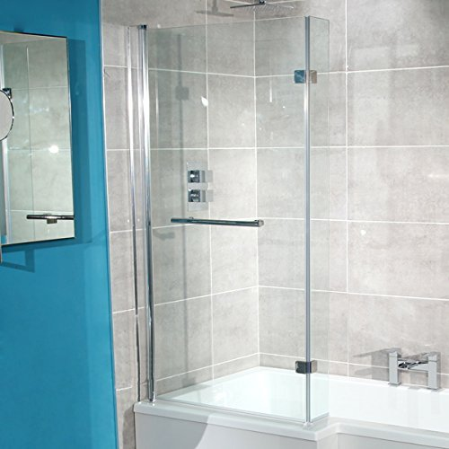 Bath Screen with Return Panel 6mm Glass Pivot Hinged Straight Shower Tub Door includes Rubber Seal by Better Bathrooms Â