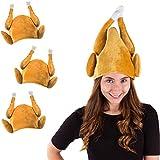 Turkey Hats - 3 Pack Plush Turkey Costumes - Thanksgiving Party Hats - Roasted Turkey Hat Tigerdoe