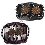 Tebatu Magic Wood Beads Double Women/Ladies Hair Comb Stretchy Hair Combs Clips Coffee 11x8cm/4.33x3.15