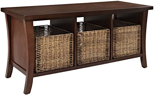 Crosley Furniture Wallis Entryway Storage Bench - Vintage Mahogany - Solid Hardwood and Veneer Construction Variety of Colors to Match any Décor Includes Three Wicker Storage Baskets - entryway-furniture-decor, entryway-laundry-room, benches - 51tQVc1zelL -