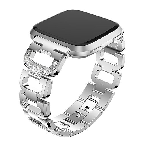 Maxjoy for Fitbit Versa Bands, Stainless Steel Band Large Small Diamond Rhinestone Metal Replacement Strap Adjustable Crystal Chain Bracelet Women Wristband for Fitbit Versa Smart Watch, Silver Band ()