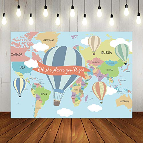 The Places You Will Go (Hot Air Balloon Backdrop for Baby Shower Oh The Place You'll go Travel Birthday Background for Photography Back to School Hot Air Ballon Theme Party Decorations Banner)