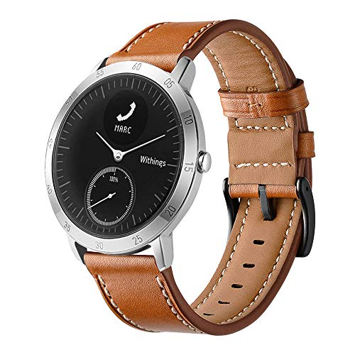 Sport Watch Steel Band - LeafBoat Compatible Withings/Nokia Steel HR Sport Smartwatch (40mm) Band, Geniune Leather Replacement Strap Compatible Withings/Nokia Steel HR Sport Smartwatch (40mm) (Brown)