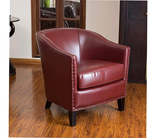 Premium Austin Oxblood Leather Club Chair, Red