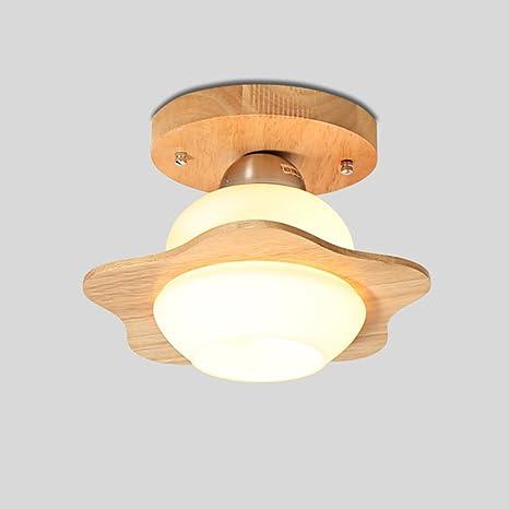 Luz de techo de madera creativa Luz de pasillo simple LED Bombilla LED Moderna lámpara de