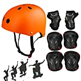 SymbolLife Skateboard / Skate Helmet with Protective Gear Knee Pads Elbow Pads Wrist Guards for Kids/Youth BMX/ Skateboard / Scooter/ Bike, For Head Size M (52-57cm) Orange