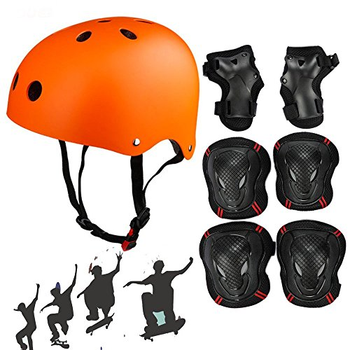 Besmall Adjustable Skateboard Skate Helmet with Protective Gear Knee Pads Elbow Pads Wrist Pads for Youth Outdoor Sports, BMX, Skateboard, Bike, Roller, Kid s Protective Gear Set