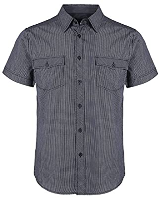 Feelingstocks Men's Plaid Classic Male Big-Tall Short-Sleeve Shirt Button Down Collar Summer Dress Shirt