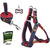 Olivery No-Pull Dog Leash Harness Set, FREE ID Tag, Adjustable Heavy Duty Denim Pet Supply for Large/Medium/Small/Extra-Small Pet Dogs Training & Everyday Walking, Size L, Red