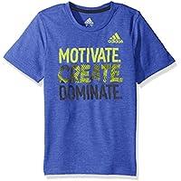 Adidas Boys' Big Short Sleeve Moisture-Wicking Graphic T-Shirt, Hi-Res Blue Adi, Medium