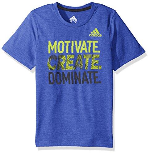 Adidas Boys Big Short Sleeve Moisture-Wicking Graphic T-Shirt, Hi-Res Blue Adi, Medium