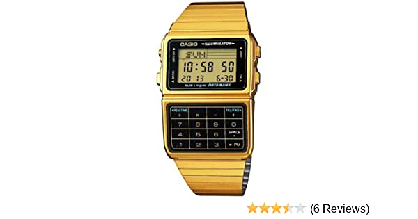 a303e631804 Amazon.com  Casio DBC-611G-1 Gold Memory Calculator Databank Watch  Watches