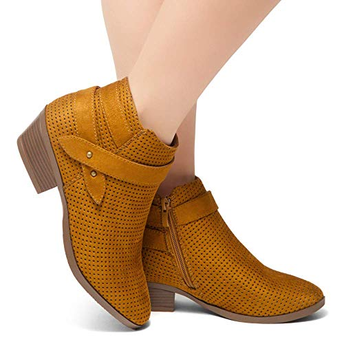 0831f752fb1d1 Herstyle Tamela Women's Western Ankle Bootie Closed Toe Casual Low Stacked  Heel Boots Cognac 8.0