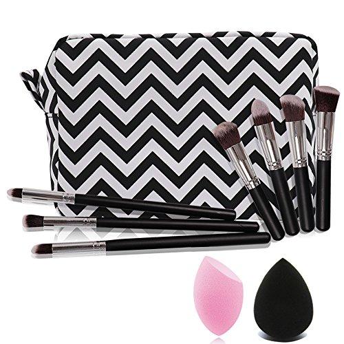 Travel cosmetic bag (Black)with 1pc blackBlender Sponge+1pc pink Blender Sponge+7pcs makeup brush set
