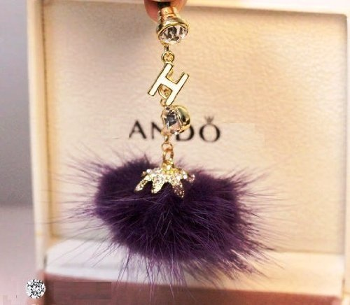 CJB Dust Plug / Earphone Jack Accessory Purple Letter H Crystal Fur for iPhone 4 4s S4 5 All Device with 3.5mm Jack (US Seller)