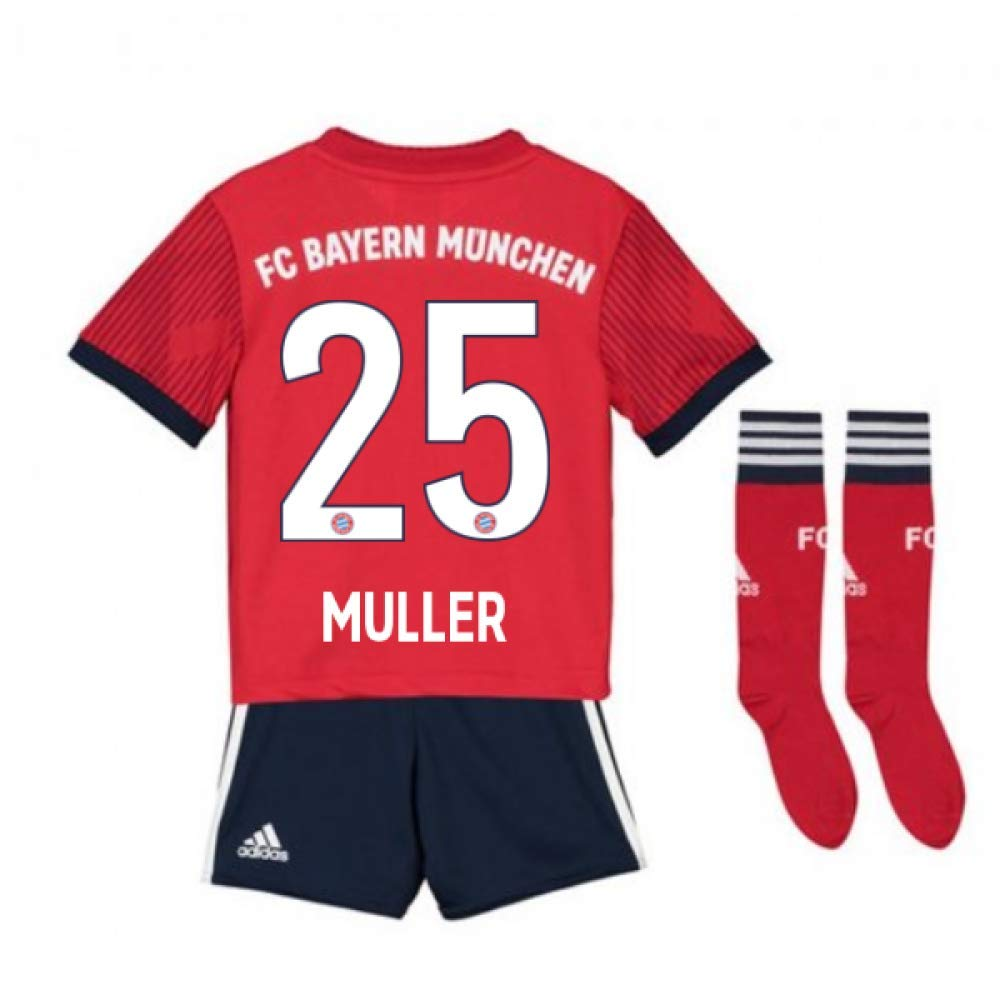 UKSoccershop 2018-2019 Bayern Munich Adidas Home Little Boys Mini Kit (Thomas Muller 25)