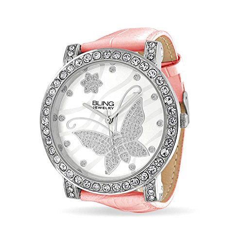 Fashion Round White Dial Cubic Zirconia CZ Pave Bezel Large Butterfly Watch for Women for Teen Pink Faux Leather Band