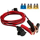 DEDC Battery Clip On Plug Socket 3m/10FT 12V/24V Cigarette Lighter Adapter Cable with Fuse Holder for Car Battery Portable Air Compressor Power Inverter 1Pc