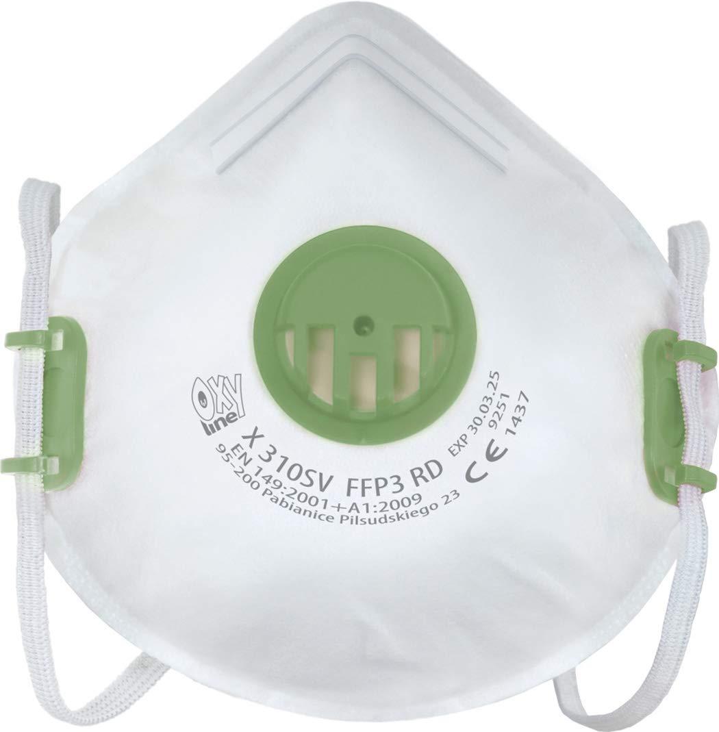 Oxyline X 310 SV FFP3 R D respirador Máscara protectora reutilizable con válvula - 10 piezas