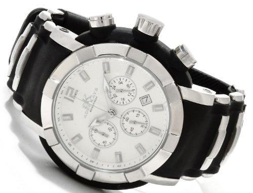Adee Kaye #AK2224-M Men's Quartz Chronograph Stainless Steel Case Rubber Strap Watch